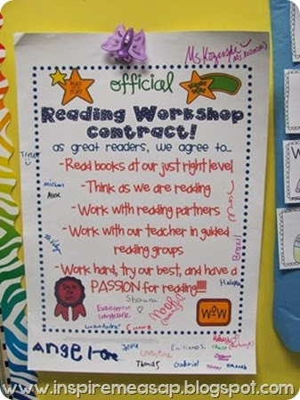 official reading workshop contract - reader's notebooks