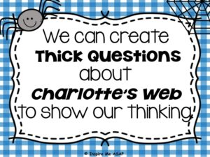 Students identify thick questions about the characters and plot of Charlotte's Web, as part of a reading workshop mini-lesson.